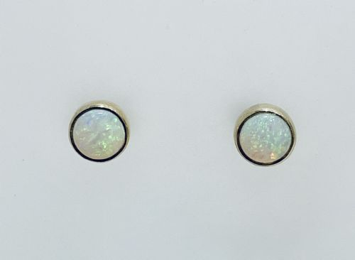Opal Yellow Gold Rubbed Over Round Earrings